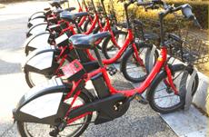 赤い自転車が目印!自転車シェアリングの使い方
